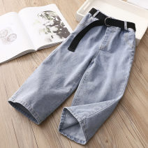 trousers Shell element female 100cm,110cm,120cm,130cm,140cm,150cm Denim blue spring and autumn trousers fresh No model Jeans Leather belt middle-waisted Don't open the crotch Other 100% kzd326 Class B 2, 3, 4, 5, 6, 7, 8, 9, 10, 11, 12, 13, 14 years old