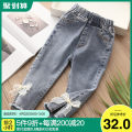 trousers Shell element female 90cm,100cm,110cm,120cm,130cm,140cm Denim blue spring and autumn trousers No model Jeans Leather belt Other 100% kzd712 Class B 2, 3, 4, 5, 6, 7, 8, 9, 10, 11, 12, 13, 14 years old