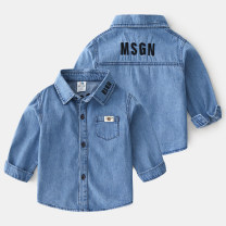 shirt Denim blue Shell element female 90cm,100cm,110cm,120cm,130cm,140cm,150cm spring and autumn Long sleeves Europe and America other other Other 100% txa670 Class B