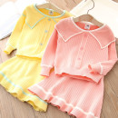 suit Shell element Yellow, pink 90cm,100cm,110cm,120cm,130cm,140cm female spring and autumn fresh Long sleeve + pants No model Single breasted Class B Other 100%