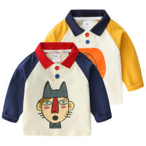 T-shirt Blue sleeves in white, yellow sleeves in white Shell element 90cm,100cm,110cm,120cm,130cm male spring and autumn Long sleeves Lapel and pointed collar Europe and America No model nothing other Cartoon animation txa070 Class B 2, 3, 4, 5, 6, 7, 8, 9, 10, 11, 12, 13, 14 years old