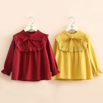 shirt Yellow, red Shell element female 90cm,100cm,110cm,120cm,130cm,140cm spring and autumn Long sleeves Solid color other tx9902 Class B