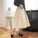 skirt Spring 2021 S,M,L,XL Apricot Mid length dress commute High waist A-line skirt Type A 81% (inclusive) - 90% (inclusive) Korean version