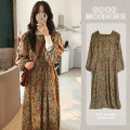 Dress Spring 2021 Picture color, high collar with inside S,M,L,XL,2XL Mid length dress singleton  Long sleeves commute square neck High waist Decor Socket A-line skirt puff sleeve Others 18-24 years old Type A Other / other Korean version 51% (inclusive) - 70% (inclusive) Chiffon cotton