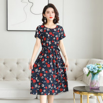Dress Summer 2021 1, 2, 3, 4, 5, 6, 7, 8, 9, 10 L,XL,2XL,3XL,4XL Mid length dress singleton  Short sleeve commute Crew neck High waist Broken flowers Socket Big swing routine Others 40-49 years old Type A Other / other Simplicity Pocket, lace up, stitching More than 95% cotton