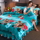 Bedding Set / four piece set / multi piece set Polyester (polyester fiber) other Plants and flowers 133x72 Polyester (polyester fiber) 4 pieces 40 Bed skirt Qualified products Countryside other Reactive Print  Thermal storage other