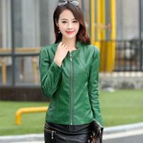 leather clothing Other / other Spring 2021 have cash less than that is registered in the accounts Long sleeves Self cultivation commute stand collar zipper routine Splicing 35-39 years old