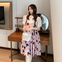 suit Miss Leila Pink M,L,XL,XXL Korean version Short sleeve + skirt summer routine Solid color 407-6303