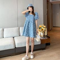 Dress Miss Leila Blue, white, black M,L,XL Korean version Short sleeve Medium length summer square neck Solid color 421-6398