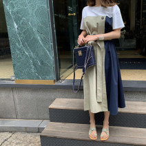 Dress Spring 2021 Grey green S,M,L Mid length dress singleton  Short sleeve commute Crew neck High waist Solid color Socket Ruffle Skirt routine Korean version 71% (inclusive) - 80% (inclusive) cotton