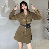 Dress Spring 2021 Army green, black, personalized waist bag M, L Short skirt singleton  Long sleeves commute tailored collar High waist Solid color Single breasted A-line skirt routine Others 18-24 years old Type A Korean version Chains, pockets, buttons 30% and below other