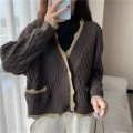 sweater Spring 2021 Average size Chestnut, beibai, bean green Long sleeves Cardigan singleton  Regular other 30% and below V-neck Thin money commute routine Solid color Straight cylinder Regular wool Keep warm and warm 18-24 years old Single breasted