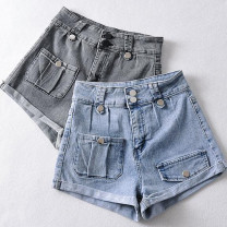 Jeans Summer 2021 Gray, blue S,M,L,XL shorts High waist Wide legged trousers routine 18-24 years old Multi pocket, badge, metal decoration, zipper, button, wash, paste cloth, pattern, make old, other Cotton elastic denim Dark color Other / other 81% (inclusive) - 90% (inclusive)