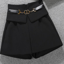 Casual pants black S suggests 80-95 Jin, m suggests 95-105 Jin, l suggests 105-115 Jin, XL suggests 115-125 Jin, 2XL suggests 120-135 Jin Summer 2021 shorts Wide leg pants High waist Versatile Thin money 25-29 years old Other / other Double waistband