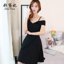 Dress Spring 2020 White black S M L XL Short skirt singleton  commute High waist Solid color Others 25-29 years old Caidaifei Korean version L825RX More than 95% polyester fiber Polyester fiber 94.9% polyurethane elastic fiber (spandex) 5.1%