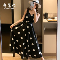 Dress Spring 2020 Big dot on black, big dot on red S M L Mid length dress Sleeveless commute V-neck High waist Dot 25-29 years old Caidaifei Korean version ZBL0033 More than 95% polyester fiber Polyester 100%