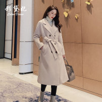 woolen coat Spring 2020 S M L XL Black Beige Camel polyester 95% and above have more cash than can be accounted for Long sleeves commute double-breasted routine tailored collar Solid color Straight cylinder Korean version Caidaifei 25-29 years old Polyester 100%