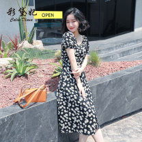Dress Summer 2020 black S M L XL XXL Middle-skirt singleton  Short sleeve commute High waist Broken flowers Socket 25-29 years old Caidaifei Korean version L1447RX 91% (inclusive) - 95% (inclusive) polyester fiber Polyester fiber 93.5% polyurethane elastic fiber (spandex) 6.5%