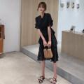 Dress Spring 2020 White black S M L XL Mid length dress singleton  commute High waist Dot 25-29 years old Caidaifei Korean version More than 95% polyester fiber Polyester 100%