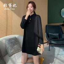 Dress Spring 2020 black S M L XL Short skirt singleton  commute High waist Solid color 25-29 years old Caidaifei Korean version L1336RX 31% (inclusive) - 50% (inclusive) nylon Viscose (viscose) 55.4% polyamide (nylon) 44.6%