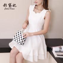 Dress Spring 2020 White pink black S M L XL Short skirt singleton  commute High waist Solid color 25-29 years old Caidaifei Korean version More than 95% polyester fiber Polyester fiber 94.9% polyurethane elastic fiber (spandex) 5.1%