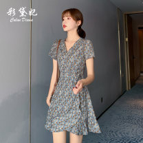 Dress Summer 2020 Blue Grey Pink S M L XL XXL Short skirt singleton  Short sleeve commute High waist Decor Socket 25-29 years old Caidaifei Korean version L1418RX More than 95% polyester fiber Polyester 100%