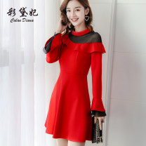Dress Spring 2020 Red yellow S M L XL XXL Short skirt singleton  Long sleeves commute Crew neck High waist Solid color Others 25-29 years old Caidaifei Korean version L750RX More than 95% polyester fiber Polyester fiber 94.9% polyurethane elastic fiber (spandex) 5.1%