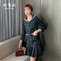 Dress Autumn 2020 black S M L XL XXL Short skirt singleton  Nine point sleeve commute High waist Socket other Others 25-29 years old Caidaifei Korean version More than 95% polyester fiber Polyester 100%