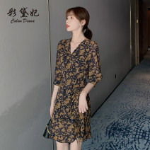 Dress Summer 2020 Navy Blue S M L XL XXL Short skirt singleton  three quarter sleeve commute V-neck High waist Decor Socket 25-29 years old Caidaifei Korean version More than 95% polyester fiber Polyester 100%