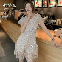 Dress Spring 2020 Beige (Jumpsuit) Beige (dress) S M L Short skirt singleton  commute High waist Others 25-29 years old Caidaifei Korean version ZBL0052 More than 95% polyester fiber Polyester 100%