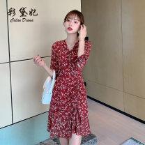 Dress Summer 2020 claret S M L XL XXL Short skirt singleton  three quarter sleeve commute High waist Decor Socket 25-29 years old Caidaifei Korean version L1441RX More than 95% polyester fiber Polyester 100%