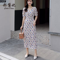 Dress Summer 2020 Apricot S M L XL Mid length dress singleton  Short sleeve commute V-neck High waist Decor Socket Princess Dress Others 25-29 years old Caidaifei Korean version More than 95% Chiffon polyester fiber Polyester 100%