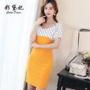 Dress Spring 2020 Black yellow light blue S M L XL XXL Short skirt singleton  commute High waist Solid color Others 25-29 years old Caidaifei Korean version More than 95% polyester fiber Polyester fiber 94.9% polyurethane elastic fiber (spandex) 5.1%