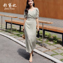 Dress Summer 2020 Light green S M L XL Mid length dress singleton  Short sleeve commute V-neck High waist Decor Socket Princess Dress Others 25-29 years old Caidaifei Korean version More than 95% Chiffon polyester fiber Polyester 100%