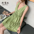 Dress Spring 2020 Matcha green (suspender skirt) Matcha green (dress) S M L XL XXL Short skirt singleton  commute High waist 25-29 years old Caidaifei Korean version ZBL0053 91% (inclusive) - 95% (inclusive) polyester fiber Polyester fiber 93.5% polyurethane elastic fiber (spandex) 6.5%