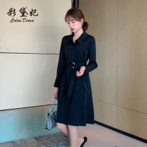 Dress Autumn 2020 Apricot black S M L XL XXL Mid length dress singleton  Long sleeves commute Polo collar High waist Single breasted routine 25-29 years old Caidaifei Korean version L1361RX More than 95% polyester fiber Polyester 100%