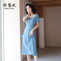 Dress Summer 2020 blue S M L XL XXL Mid length dress singleton  Short sleeve commute High waist Dot Single breasted 25-29 years old Caidaifei Korean version L1464RX-1 More than 95% polyester fiber Polyester 100%