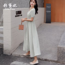 Dress Summer 2020 Light green S M L XL Mid length dress singleton  Short sleeve commute V-neck High waist Solid color Single breasted A-line skirt other Others 25-29 years old Caidaifei Korean version More than 95% other polyester fiber Polyester 100%