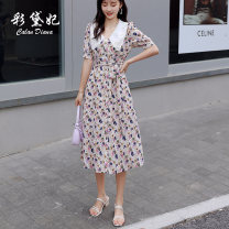Dress Summer 2020 Deep apricot S M L XL Mid length dress singleton  elbow sleeve commute V-neck High waist Decor Single breasted Princess Dress Others 25-29 years old Caidaifei Korean version GDD043 More than 95% Chiffon polyester fiber Polyester 100%