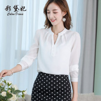 Lace / Chiffon Spring 2020 White, black, red S M L XL XXL Long sleeves commute Self cultivation Regular Solid color 25-29 years old Caidaifei Korean version Polyester fiber 93.5% polyurethane elastic fiber (spandex) 6.5%