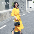 Dress Summer 2020 yellow S M L XL XXL Mid length dress singleton  three quarter sleeve commute V-neck High waist Solid color 25-29 years old Caidaifei Korean version More than 95% polyester fiber Polyester 100%