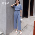 Jumpsuit / pants 91% (inclusive) - 95% (inclusive) trousers polyester fiber High waist commute Blue grey S M L XL routine Summer 2020 Overalls GDD010-1 Caidaifei