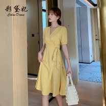 Dress Summer 2020 Apricot pink yellow S M L XL XXL Middle-skirt singleton  Short sleeve commute V-neck High waist Solid color Socket A-line skirt other Others 25-29 years old Caidaifei Korean version L1416RX More than 95% polyester fiber Polyester 100%
