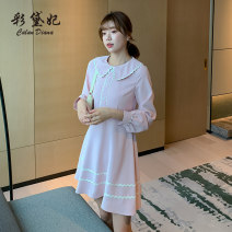 Dress Autumn 2020 Dark pink light green S M L XL XXL Short skirt singleton  Long sleeves commute High waist Solid color Socket Princess Dress routine Others 25-29 years old Caidaifei Korean version L1374RX More than 95% polyester fiber Polyester 100%