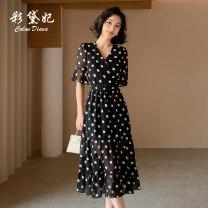 Dress Summer 2020 black S M L XL XXL Mid length dress singleton  elbow sleeve commute V-neck High waist Dot Socket 25-29 years old Caidaifei Korean version More than 95% polyester fiber Polyester 100%