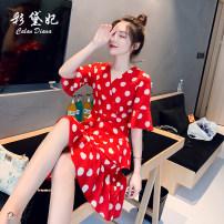 Dress Spring 2020 Black red S M L Short skirt singleton  Short sleeve commute V-neck High waist Dot 25-29 years old Caidaifei Korean version More than 95% polyester fiber Polyester 100%