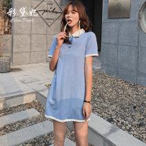 Dress Spring 2020 Blue Pink S M L Short skirt singleton  Short sleeve commute Loose waist 25-29 years old Caidaifei Korean version ZBT0009 51% (inclusive) - 70% (inclusive) nylon Polyamide fiber (nylon) 53% cotton 47%