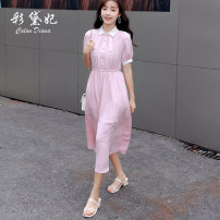 Dress Summer 2020 Peach  S M L XL Mid length dress singleton  elbow sleeve commute Polo collar High waist Solid color Socket other other Others 25-29 years old Caidaifei Korean version GDD003-1 More than 95% other polyester fiber Polyester 100%