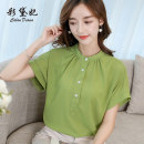 Lace / Chiffon Spring 2020 Yellow Matcha green coral red S M L XL XXL Short sleeve commute Socket singleton  Self cultivation Regular Solid color 25-29 years old Caidaifei C786RX Korean version Polyester fiber 93.5% polyurethane elastic fiber (spandex) 6.5%