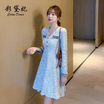 Dress Autumn 2020 Blue black S M L XL XXL Short skirt singleton  Long sleeves commute V-neck High waist lattice Socket Princess Dress Others 25-29 years old Caidaifei Korean version L1375RX More than 95% polyester fiber Other polyester 95% 5%